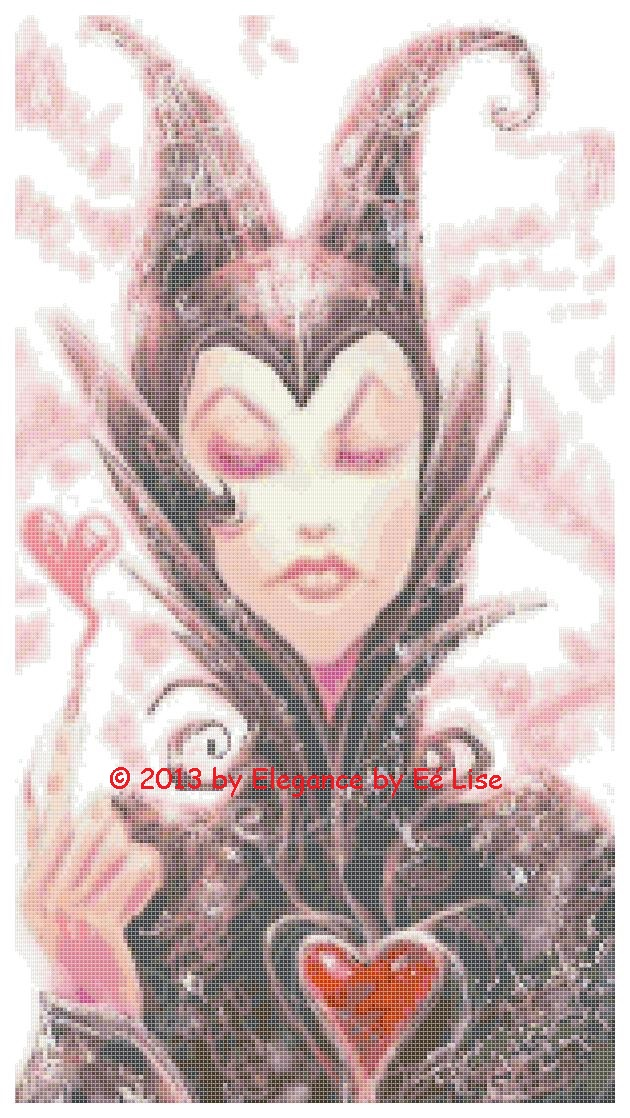 Disney/'s Sleeping Beauty/'s Valentine Maleficent Fairy Cross Stitch Pattern CD