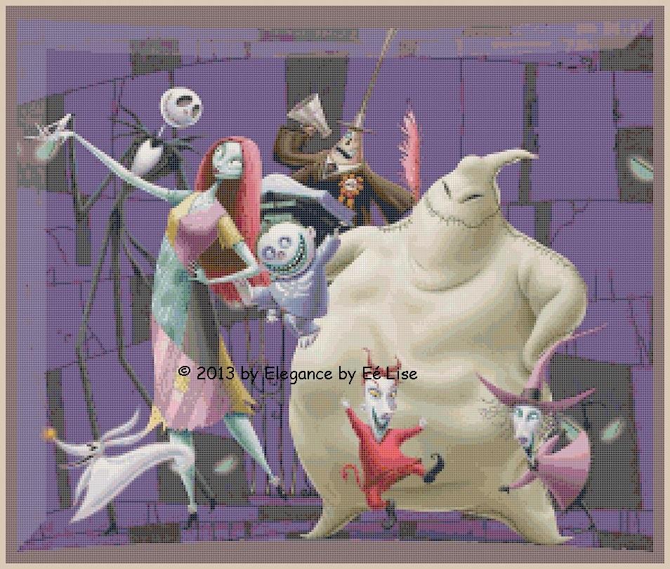 "Disney/'s  Nightmare Before Christmas /""Group Photo/"" Cross Stitch Pattern CD"